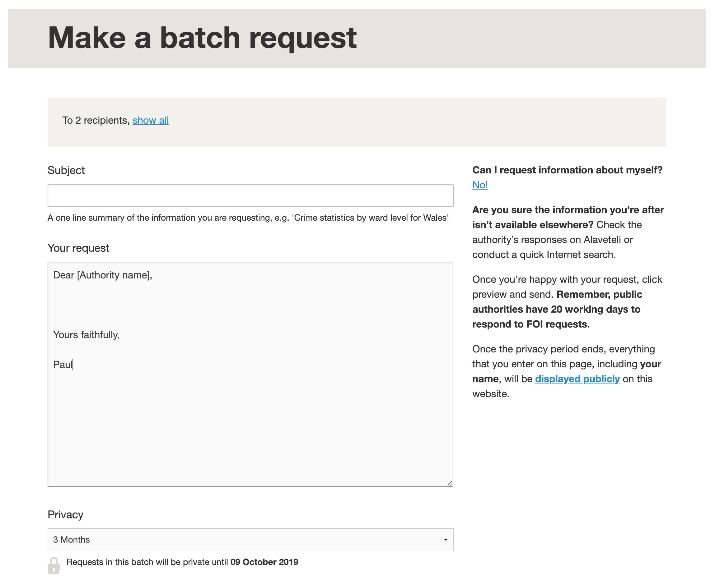 Write a batch template
